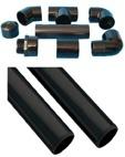 Schwarze PVC Fittings und Rohr